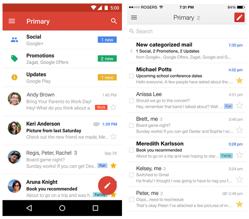 Gmail Android and iOS native apps